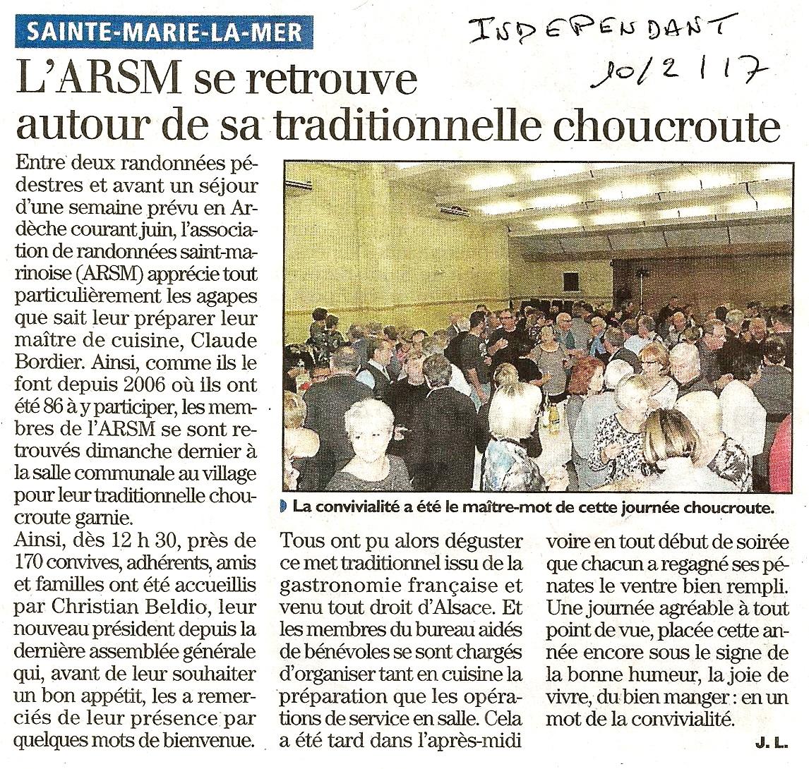 Article l independant repas choucroute 1